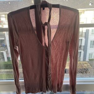 Tops - Taupe long sleeve shirt blouse with neck tie M